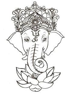 Lord Ganesha And Lotus Flower Tattoo Sample