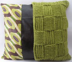 Reversible Crochet, African Wax Print Pillow with Italian Faux Leather ...