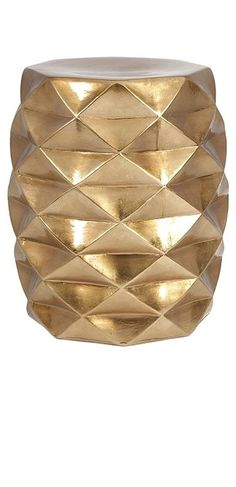Modern and bold metallic gold ceramic stool with a geometric cutwork design. Use as a stool, side table or accent seat. - X - Ceramic with bright gold finish - Indoor/Outdoor use - Imported Ceramic Stool, Ceramic Garden Stools, Ceramic Decor, Ceramic Design, Home Depot, Chandeliers, Pics Art, Color Dorado, Dot And Bo
