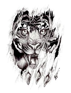 this is a detail tattoo that i drew i haven't done a detailed tiger in a while used a fine point liner pen CHECK OUT MY YOUTUBE    www.youtube.com/user/ChantelLi… Etsy Store--->...