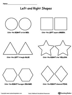 "*FREE* Left And Right Shapes: Help your child practice recognizing left from right with ""Left And Right Shapes"" printable worksheet. Your child will color the shape either on the left or on the right based on the instructions."