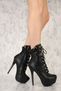 927a811fe63a Black Front Lace Up Platform Pump High Heel Booties Faux Leather