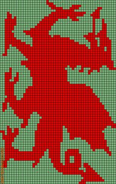 Chart to either knit, crochet or cross stitch a Welsh Dragon. Gotta love...