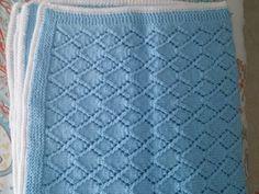 Hand knit blue diamond stitch baby blanket by BabyknitTreasures #knit #knitting #blanket #handmade #crafts