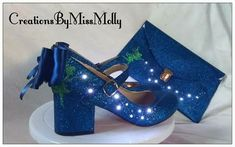 Excited to share the latest addition to my #etsy shop: Fairy Tinkerbell inspired light up shoes/heels/bag/ glitter shoes/ blue wedding shoes http://etsy.me/2CJEUxU