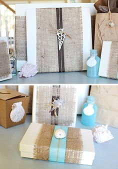 Burlap Gift Wrapping Idea with shells: http://www.completely-coastal.com/2015/12/wrapping-papers-gift-wrap-coastal-beach-nautical.html