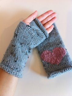 Fingerless gloves in blue tweed with pink by Tickledpinksheep, £18.00