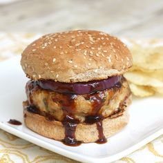 Sub in some grilled pineapple for that red onion and and I would love these barbecue chicken burgers