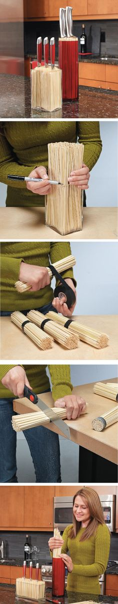 DIY Custom Catch-All Kitchen Knife Block - For the skewers salvaged from the BBQs Diy Bedroom Decor, Diy Home Decor, Home Projects, Projects To Try, Ideas Prácticas, Decor Ideas, Decoration Originale, Ideas Geniales, Kitchen Organization