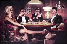 Marilyn Monroe and Elvis | Quadro De Poker ! Marilyn Monroe,elvis Presley E James Dean!