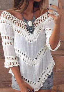 Boho-Style V-Neck Top- Features Boho Crochet Lace Design