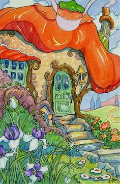"""Daily Paintworks - """"Sunshine and Posies Storybook ..."""" by Alida Akers"""