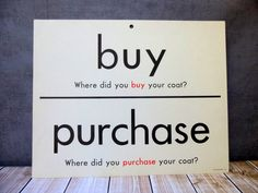 1 Giant Flash Card  Synonyms  Buy / Purchase  by VintagePaperology, $15.00