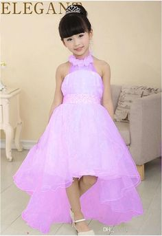 2015 glitz pageant dresses for little girls Halter collar floor length tail…