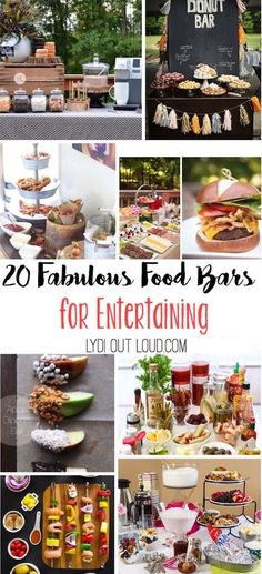 Wedding Food These food bars would all be so fun for parties, showers and weddings! - These food bars would be the star of any party or shower. They take a lot of the work off of the hostess' plate while everyone gets just what they want! Party Fiesta, Festa Party, Bbq Party, Dinner For Party, Xmas Dinner, Party Food Bars, Snacks Für Party, Party Food Themes, Parties Food
