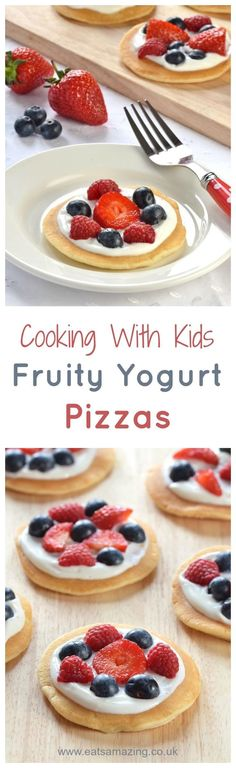 Cute mini fruit pizzas topped with yogurt and berries - a great easy recipe to cook with kids this summer - fun food for kids from Eats Amazing UK (Sweet Recipes For Kids) Fruit Recipes For Kids, Easy Meals For Kids, Baby Food Recipes, Kids Meals, Snack Recipes, Cooking Recipes, Kids Fruit, Cooking Broccoli, Pancake Recipes