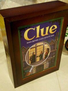 CLUE BOARD GAME WOOD BOOK SHELF EDITION PARKER BROS HASBRO
