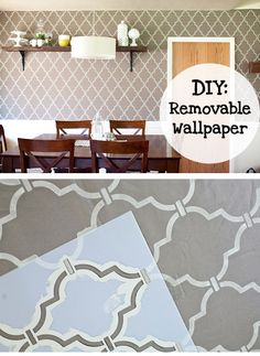 "DIY removable ""wallpaper"" - fabric & starch applied to the wall - supposed to be easy to remove with just water & leave no damage to the paint underneath - great for renters - via Modern Parents Messy Kids Temporary Wallpaper, Diy Wallpaper, Modern Wallpaper, Removing Wallpaper, Renters Wallpaper, Wallpaper Awesome, Diy Wand, Diy Tapete, Interior Exterior"