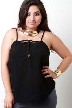Knotted V-Neck Spaghetti Strap Top