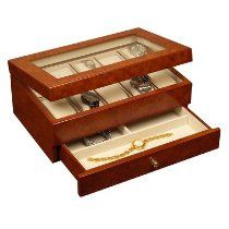 "Mele 0068111 Peyton 4.75"" High Watch Box in Burlwood Oak"