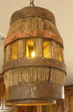 Vintage wagon wheel hub pendant light