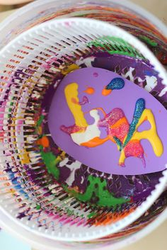 Easter Egg Spin Art using a salad spinner. We could get it at the thrift store and keep it in the resource room.