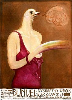 polish movie poster for bunuel's 'the discreet charm of the bourgeoisie' by franciszek starowieyski, 1975