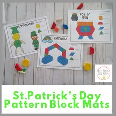 These St. Patrick's Day Themed pattern Block Mats are great for morning work tubs, early finishers, Math Centers, or STEM bins! Kindergarten Activities, Classroom Activities, Preschool Activities, Elderly Activities, Dementia Activities, Autism Classroom, Preschool Classroom, March Crafts, St Patrick's Day Crafts