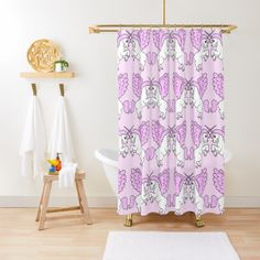 """Pink Unicorn Pattern Design"" Shower Curtain by ironydesigns Unicorn Pattern, Custom Shower Curtains, Sell Your Art, Pattern Design, Pink, Pink Hair, Roses"