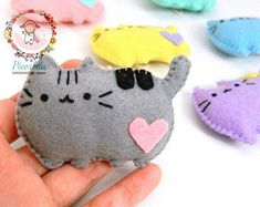 A set of Felt Pusheen Cat Party Favor, Felt Pusheen Cat Baby Shower Favor, Felt Kawaii Pusheen Cat Plush, Felt Pusheen Cat Ornaments
