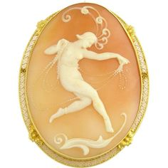 Art Deco cameo in 14K gold filigree mount Lucky In Love, Gold Filigree, Art Deco Design, Art Forms, Antique Jewelry, Art Nouveau, Dancer, Carving, Brooch