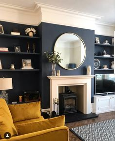 My quickest point & shoot ever 📸 After nearly getting blown away this morning., Home Accessories, My quickest point & shoot ever 📸 After nearly getting blown away this morning the sun came out for a split second and I remembered what it…. Navy Living Rooms, New Living Room, My New Room, Living Room Interior, Home And Living, Dark Blue Living Room, Blue And Mustard Living Room, Dark Blue Lounge, Fireplace Feature Wall