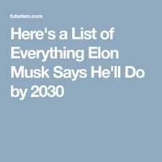 Here's a List of Everything Elon Musk Says He'll Do by 2030
