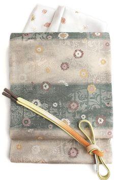 【となみ織物】謹製西陣織袋帯となみ帯小花唐草柄/グリーン茶系横段絹和紙布
