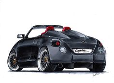 I imagine a version speedster of the little and juicy Daihatsu Copen : so sexy ! made by touch markers and a great motivation! Daihatsu Terios, Japan Cars, Love Car, Small Cars, Jeep, Trucks, Bike, Markers, Deviantart