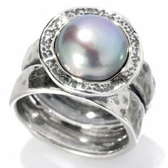 Passage to Israel Sterling Silver 9.5-10.5mm Freshwater Cultured Pearl Hammered Ring