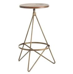 Windham Industrial Vintage Brass Wood Iron Swivel Barstool