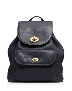 Coach Pebble Mini Turnlock Backpack  | Leather | Imported | Top handle…