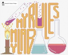 Free cross stitch chart My Lab My Rules at Hancock's House of Happy