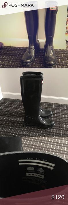 "Your favorite Hunter rain boot 1"" heel (size 9) 16"" shaft; 15"" calf circumference Pull-on style Waterproof Handcrafted Molded footbed In hot or humid weather, natural latex rubber releases a protective wax film; simply wipe it off with a damp cloth A pristine finish and shine is easily restored with regular use of Hunter Boot Buffer or Instant Boot Shine Rubber upper/textile lining/rubber sole Hunter Boots Shoes Winter & Rain Boots"