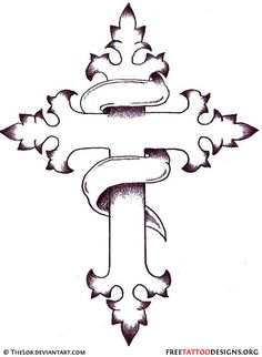 Simple cross tattoo design with banner