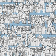 castle avenue day blue (small) fabric by scrummy on Spoonflower - custom fabric