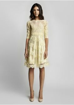 Yellow corded lace dress