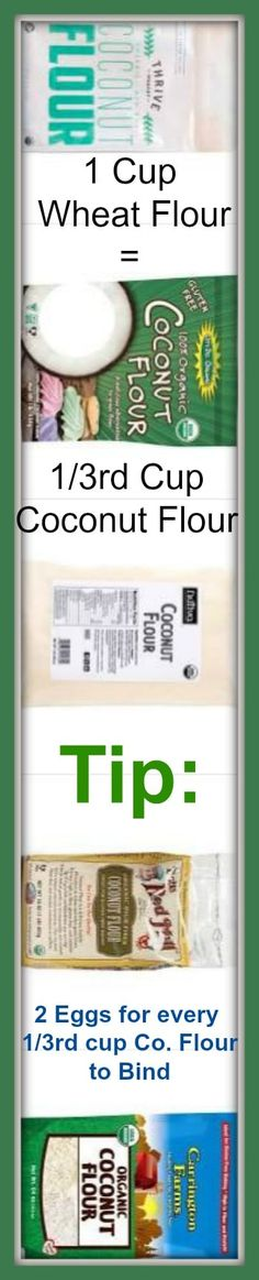 Coconut Flour Conversion   1 cup of wheat flour = 1/3rd cup coconut flour. TIP: Add 2 eggs for every 1/3rd cup of coconut flour to bind mixture #carbswitch Please repin
