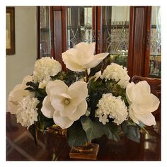 Floral Home Decor Magnolia and Hydrangea Large Silk Flower Arrangement & Reviews | Wayfair