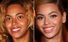 Beyoncé prova que a combinação batom coral + olho gatinho deixa o make com muito mais glamour!  Celebridades com e sem make - Beleza - CAPRICHO