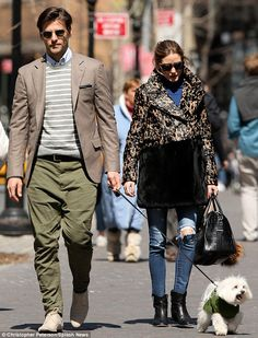 Stylish family: Olivia Palermo and her husband, Johannes Huebl, were recently spotted taki...