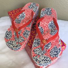 """HP  Tory Burch thandie wedge flip flop Brand new flip flop, """"habanero pepper"""". NO TRADES Tory Burch Shoes Slippers"""