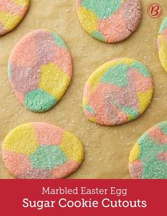 Inspired by swirly dyed Easter eggs, these colorful cookies are a fun recipe to make as a family. The more cookies are rolled, the more marbled the cookies become! To help get cutout cookies off the surface to the cookie sheet, lightly press back of cookie spatula in flour, and slide under cookie dough for easy lifting. Wearing food-safe plastic gloves makes mixing food color in the cookie dough easier and will not stain hands!