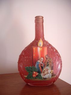 Garrafa presépio vela / bottle crib candle Christmas Decoupage, Christmas Crafts, Christmas Decorations, Painted Glass Bottles, Bottles And Jars, Bottle Painting, Bottle Art, Wine Bottle Crafts, Jar Crafts